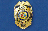 Agent badge on blue background